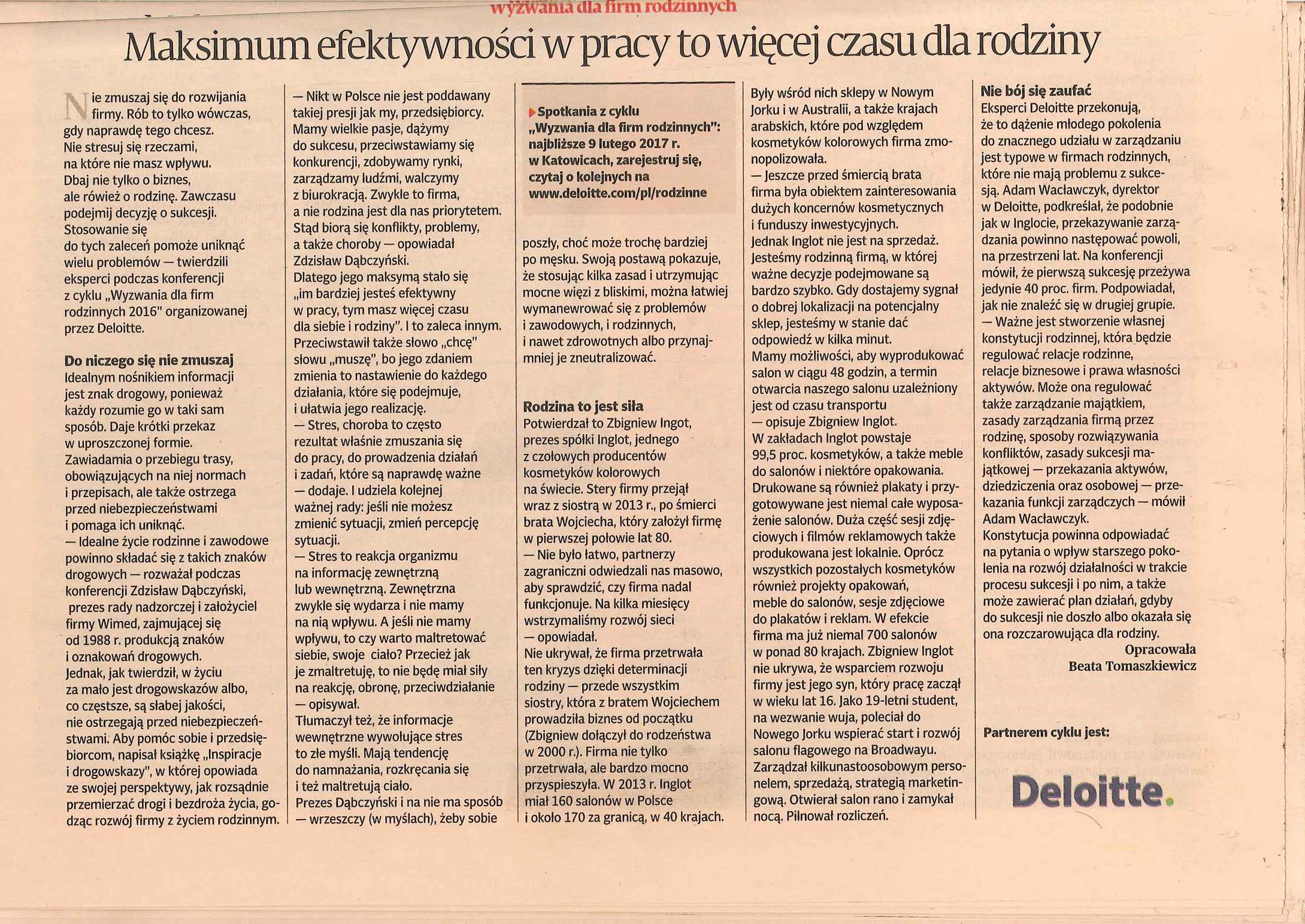 Maksimum efektywności. Spotkania pod patronatem Deloitte. Zdzisław Dąbczyński.